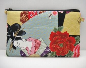 Japanese zipper pouch, Makeup bag, Large size, Geisha, Black