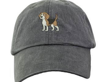 Beagle Hat - Embroidered. Embroidered Beagle Hat.  Gift For Beagle Mom. Adjustable Leather Strap. More Colors Avail. HER-LP101