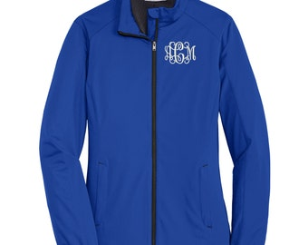 Monogram Ladies Active Soft Shell Jacket. Personalized Full Zip Jacket. Monogrammed Coat. L717