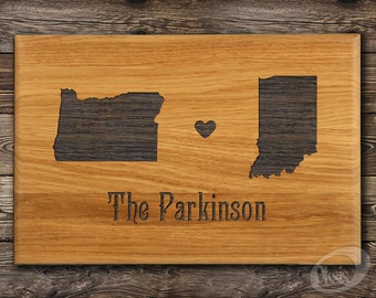 Oregon, State Cutting Board, Housewarming Gift, Indiana, Two States, Hearts, Custom Cutting Board, State Love, Wedding Gift, Anniversary