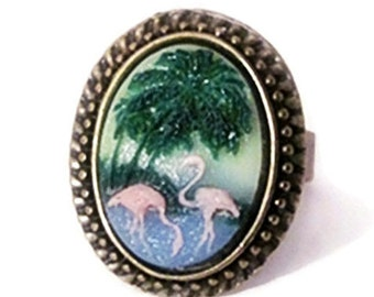 Retro vintage cameo ring pink flamingo hawaii exotica rockabilly pin up