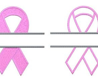 Embroidery Design Pattern - 5 x 7 Two Files Breast Cancer Awareness SPLIT Ribbon (one filled, one applique)