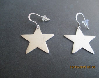Star Earrings...Sterling Silver...Plain Look...New..