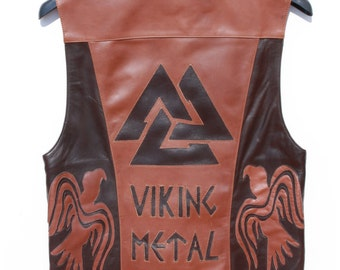 Special Discount//Man Leather Vest - Size M - Brown/Deep Brown