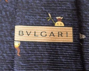 Bvlgari Tie Woven Silk Zebra Novelty Repeat Pattern Navy Blue Vintage Designer Dress Davide Pizzigoni Necktie Made In Italy