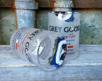 Vodka Rocks Glasses From Recycled Grey Goose Cherry Noir Liquor Bottles, Unique Gift For Any Guy!