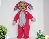 Pink and Gray Hoppity the  Easter Bunny Suit Hand Sewn for 18 Inch soft Body Dolls like Our Generation, Madam Alexander, American Girl
