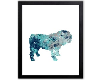British Bulldog Gift, Watercolor Bulldog Painting, Dog Poster, Limited Edition Art Print