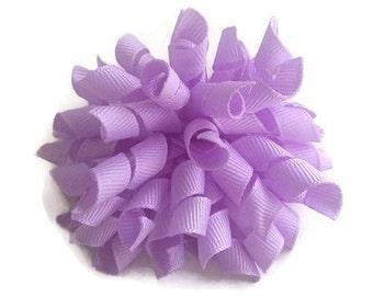 Purple korker bow, korker hair clip, boutique hair bow, birthday hair bow