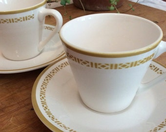 Pair of Syralite by Syracuse Honeycomb Teacups and Saucers