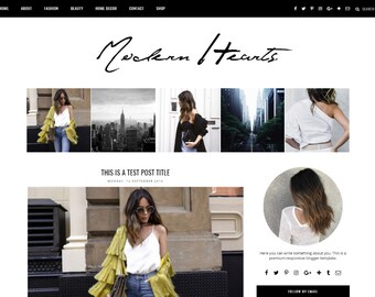 "Premade Blogger Template Responsive Design | Blog Theme ""Modern Hearts"" 