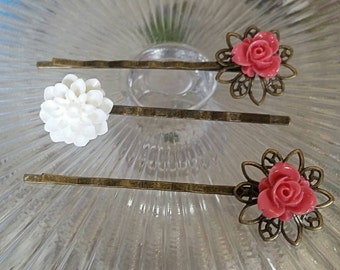 3pc Floral Bobby Pin Set