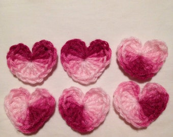 Crochet hearts set of 6