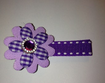 Purple flower on ribbon lined alligator hair clip