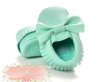 Baby Soft Sole Mint Bow Moccasins
