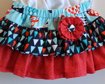 2T/3T - Ruffled, Toddler Nautical Twirl Skirt - Ready to Ship