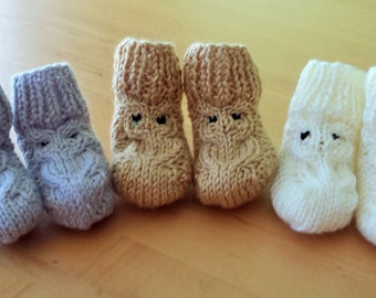 Owl Baby Booties - Set of 3 - Size Newborn to 6 Months