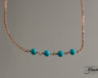 Turquoise on rose gold plated sterling