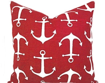 Red Nautical Pillow, 20x20 Pillow Cover, Anchor Decorative Pillow, Accent Pillow, Cushion Covers, Home Decor, Sailor Carmine Red Pillow