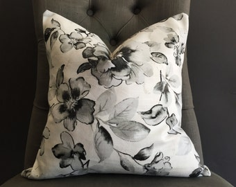 Pillow Cover, Black and White Floral Pillow Cover, OLGA