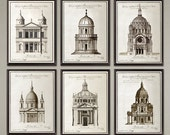 6 Set Classic French Architecture art prints. Nice home or office decor, great gift.  Size 11x14 inch. Buy 4 and get 2 FREE!