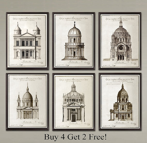 6 Set Classic French Architecture Art Prints Nice Home Or