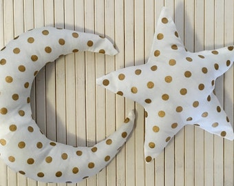 Celestial Gold Polka Dot Star and Moon Baby Rattles Soft Toy