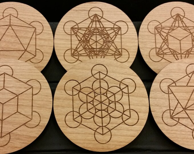 Sacred Geometry Coasters, Metatrons Cube, Platonic Solids, Icosahedron, Merkaba, Fruit of Life, Wood Coasters - Set of 6