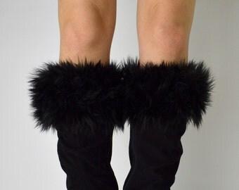 Black Fur Boot Cuffs FREE SHIPPING - Faux Fur Boot Socks, Boot Toppers, Black Fur Boot Covers, Fur Leg Warmers