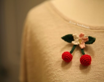 Crochet cherry Brooch. Handmade Brooch. Ready to ship.
