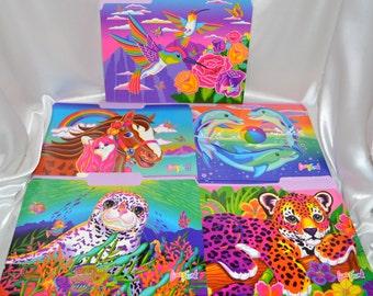10 Lisa Frank File Folders, Vintage File Brights, Hunter Leopard Cub Rainbow Chaser Horse Reef Seal Jumper Dolphins Dashly Hummingbird
