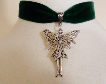Fairy choker green velvet ribbon silver tone Pendant fairy necklace pagan choker