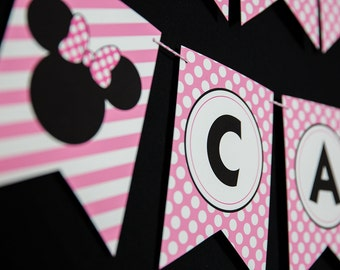 Minnie Mouse Birthday Banner - Instant Download Minnie Mouse Printable Banner by Printable Studio
