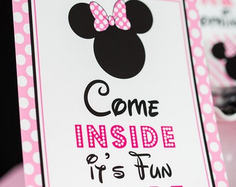 Come Inside it's Fun Inside Sign - Instant Download Minnie Mouse Party Sign - Printable Minnie Mouse Sign by Printable Studio