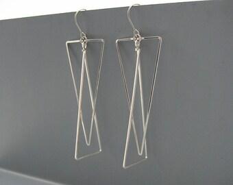 Triangle Earrings - long silver geometric minimalist, modern minimal  earrings inspired by art deco, handmade from wire - Interlocking