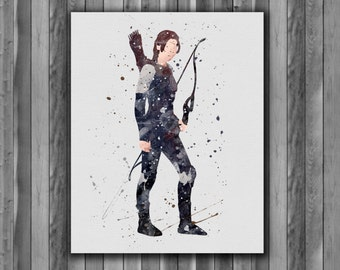 Katniss Everdeen , Hunger Games Instant Download Printable Art Print, watercolor Art Print, watercolor wall art, watercolor home decor