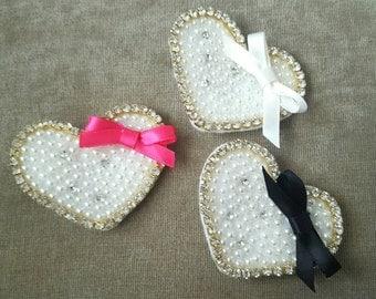3-pack Rhinestone and Pearl Heart Clips