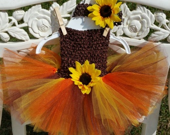 Fall sunflower tutu dress with matching headband; Thanksgiving tutu dress
