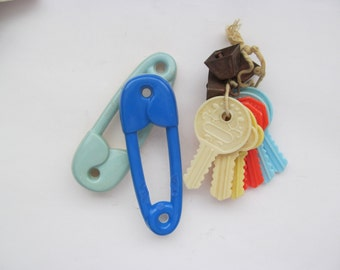 Vintage Baby Teething Keys and Two Rattles