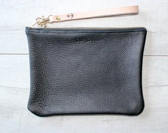 SECONDS SALE Black Leather Clutch No. 1