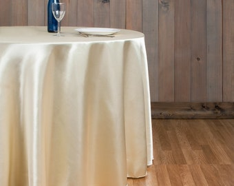 130 inch Round Satin Champagne Tablecloth | Wedding Tablecloth