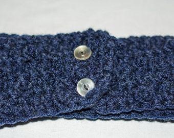 Crochet Small Blue Earwarmer Headband with Vintage Buttons