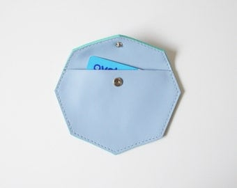 Leather pouch - Octavia blue leather purse / geometric purse small pouch leather coin purse leather coin pouch wallet earphone bag woman