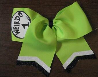 Weirdo 1 Weirdo 2 Lime Green Cheer Style Hair Bow