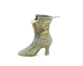 Large Bronze/Brass Shoe / Boot Ashtray