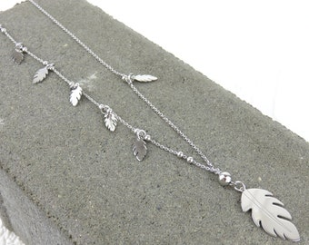 Personalised Silver Long Feather Necklace - Free Engraving