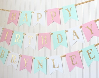 Gold, Pink, White, Mint, Happy Birthday Banner/ Girl Birthday/ Princess Party/ Party Decorations/ Custom Name/ Personalized