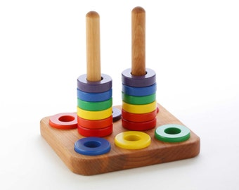 Wooden Stacker Toy - Ring Stacking Toy - Nesting Toy