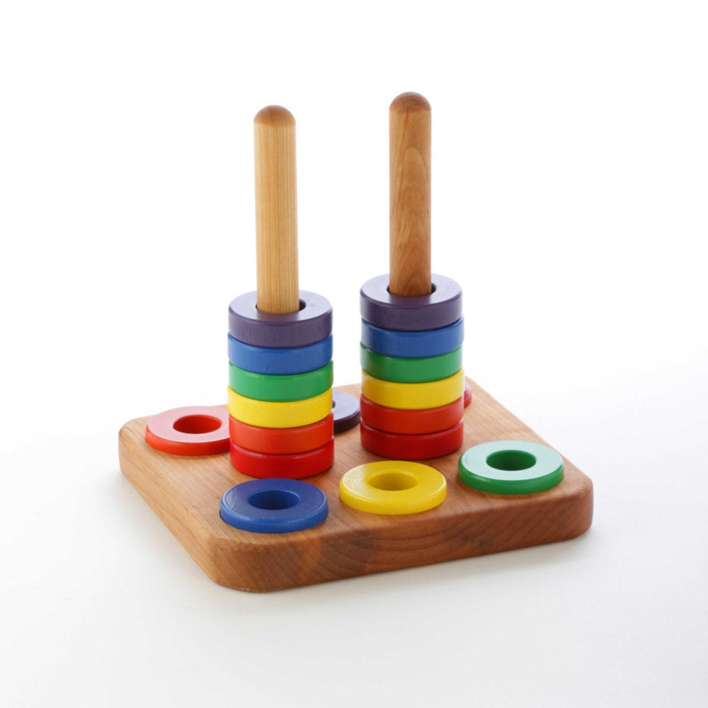 Stacking Rings Toy : Wooden stacker toy ring stacking montessori