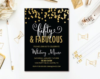 Fifty & Fabulous Birthday Invitation - Black and Gold Confetti 50th Birthday Party - Printable Adult Birthday Invite ANY AGE